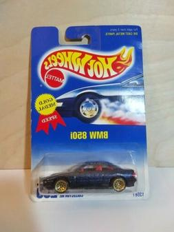 Hot Wheels 1991 Blue Card BMW 850i #255 Gold Medal Blue Glit