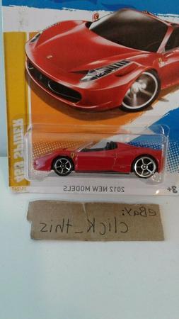 Hot Wheels 2012 New Models FERRARI 458 SPIDER Convertible RE