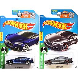 Hot Wheels 2016 Blue and Dark Grey Tesla Model S 2-Car Set