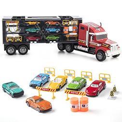 Prextex 24'' Detachable Carrier Truck Toy Car Transporter wi