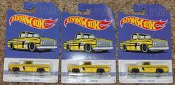3 2019 Hot Wheels '83 Chevy Silverado Yellow Walmart Lot