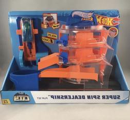 Hot Wheels City Super Spin Dealership Loop Playset Kid Toy G