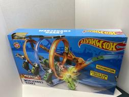 Hot Wheels Corkscrew Crash Track Set Playset FTB65 NEW