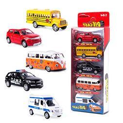 KIDAMI Die Cast Metal Toy Cars Set of 5, Openable Doors Pull