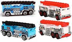 Fire Engine 5 Alarm 2 Truck Set Hot Wheels Blue & White Vari