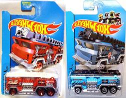 Set of 2 Fire Trucks Hot Wheels 5 Alarm Blue and Red Fire En