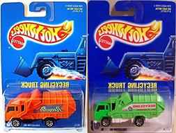 Set of 2 GARBAGE TRUCKS Hot Wheels ORANGE & GREEN Recycling
