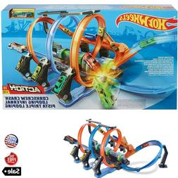 Kids Hot Wheels Corkscrew Crash Racing Cars Race Track Set P