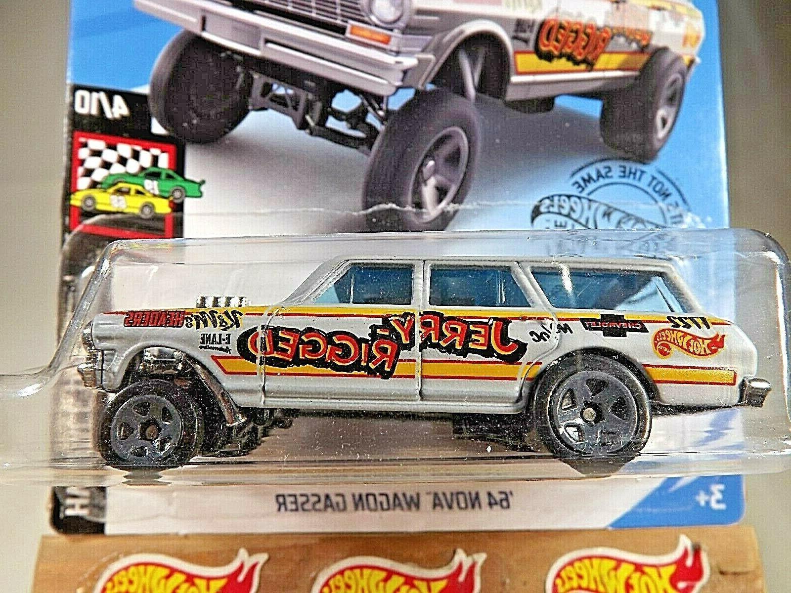 2019 Wheels #198 HW Race Day '64 NOVA WAGON Jerry Rigged Gray Variant