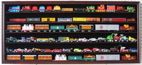 HO Scale Train Hot Wheels Display Case Rack Cabinet Wall Sha