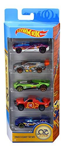 Hot Wheels 50th Anniversary Track Stars 5 Pack, 1:64 scale