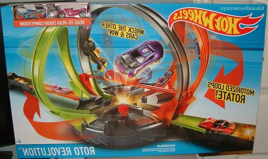 hot wheels roto revolution track set motorized