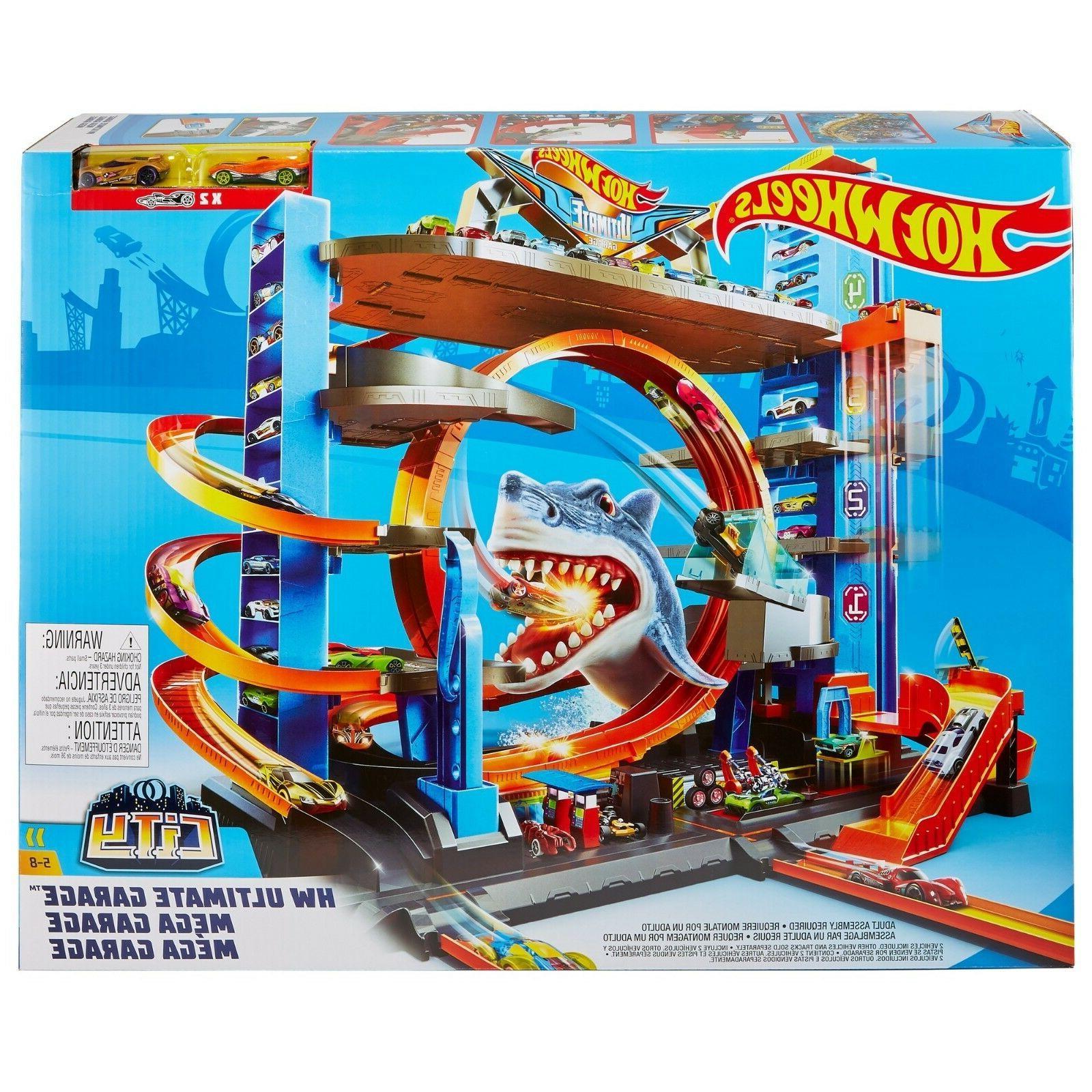 Hot Wheels Ultimate Garage Tower Shark Loop Racetrack * 2 Ve