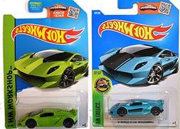 Hot Wheels Lamborghini Sesto Elemento 2-Car Set Lime Green a