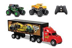 New Bright R/C S/F Hauler Set Car Carrier with Two Mini Mons