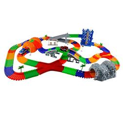 Race Car Train Track Set Over 288 Pieces Flexible Tracks Set