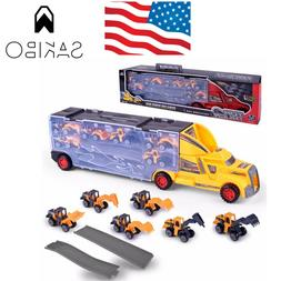 Best Choice Products Kids 2-Sided Transport Car Carrier Semi
