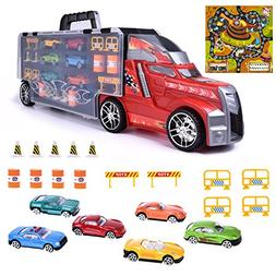 """Toy Trucks, 21"""" Large Transporter Car Carrier Truck with 28"""