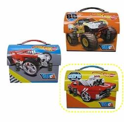 """Hot Wheels Dome Carry All Tin Stationery Lunch Box - """"Wreck"""